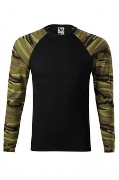 Tricou cu maneca lunga unisex, bumbac 100%, Malfini Camouflage LS, verde