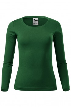 Tricou cu maneca lunga femei, bumbac 100%, Malfini Fit-T Long Sleeve, verde sticla