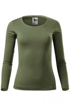 Tricou cu maneca lunga femei, bumbac 100%, Malfini Fit-T Long Sleeve, khaki