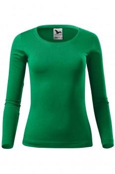 Tricou cu maneca lunga femei, bumbac 100%, Malfini Fit-T Long Sleeve, verde mediu