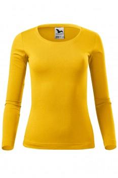 Tricou cu maneca lunga femei, bumbac 100%, Malfini Fit-T Long Sleeve, galben