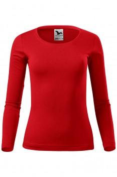 Tricou cu maneca lunga femei, bumbac 100%, Malfini Fit-T Long Sleeve, rosu