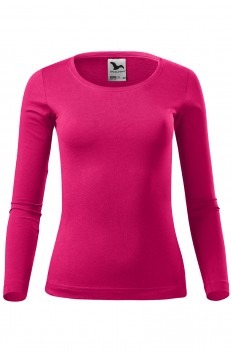 Tricou cu maneca lunga femei, bumbac 100%, Malfini Fit-T Long Sleeve, roz zmeura