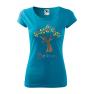 Tricou personalizat Believe, pentru femei, turcoaz, 100% bumbac