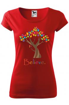 Tricou personalizat Believe, pentru femei, rosu, 100% bumbac