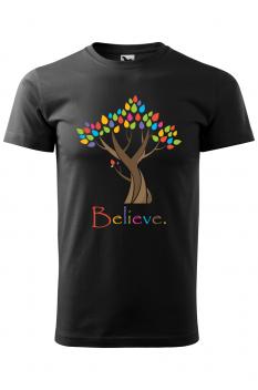 Tricou personalizat Believe, pentru barbati, negru, 100% bumbac