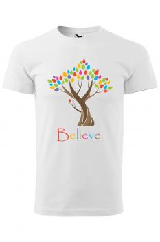 Tricou personalizat Believe, pentru barbati, alb, 100% bumbac