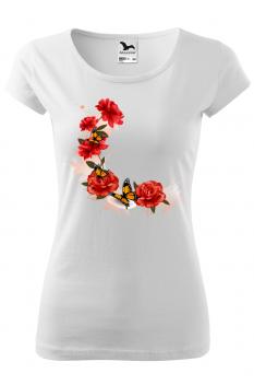 Tricou personalizat Beautiful Roses, pentru femei, alb, 100% bumbac