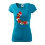 Tricou personalizat Beautiful Roses, pentru femei, turcoaz, 100% bumbac