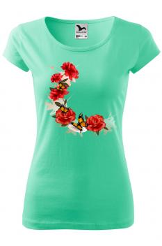 Tricou personalizat Beautiful Roses, pentru femei, verde menta, 100% bumbac