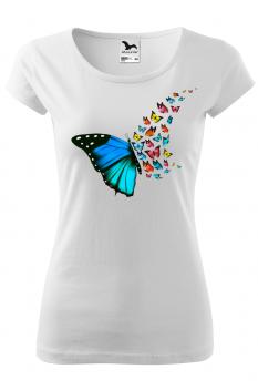 Tricou personalizat Butterfly Art, pentru femei, alb, 100% bumbac