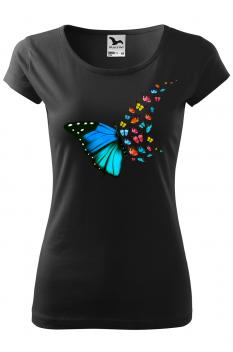 Tricou personalizat Butterfly Art, pentru femei, negru, 100% bumbac