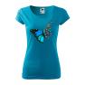 Tricou personalizat Butterfly Art, pentru femei, turcoaz, 100% bumbac