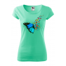 Tricou personalizat Butterfly Art, pentru femei, verde menta, 100% bumbac