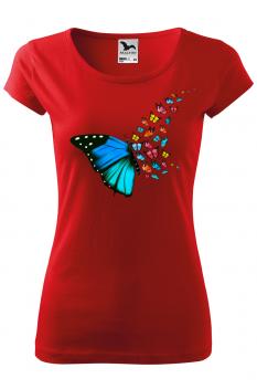Tricou personalizat Butterfly Art, pentru femei, rosu, 100% bumbac