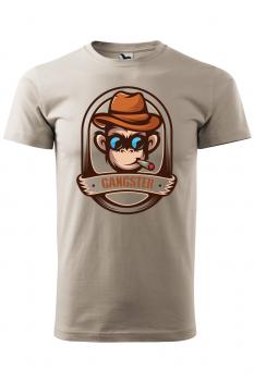 Tricou personalizat Gangster, pentru barbati, gri ice, 100% bumbac