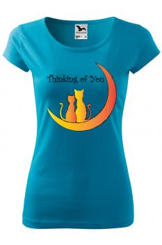 Tricou personalizat Thinking of You, pentru femei, turcoaz, 100% bumbac