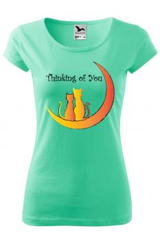 Tricou personalizat Thinking of You, pentru femei, verde menta, 100% bumbac