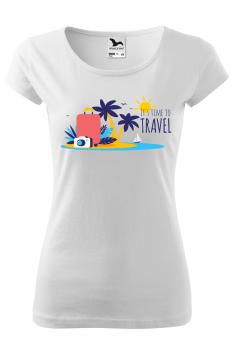 Tricou personalizat Time to Travel, pentru femei, alb, 100% bumbac