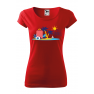 Tricou personalizat Time to Travel, pentru femei, rosu, 100% bumbac