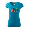 Tricou personalizat Time to Travel, pentru femei, turcoaz, 100% bumbac