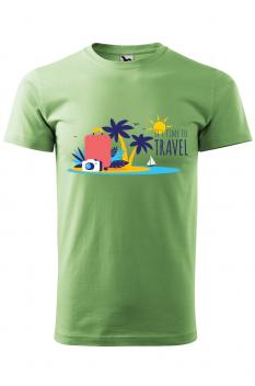 Tricou personalizat Time to Travel, pentru barbati, verde iarba, 100% bumbac
