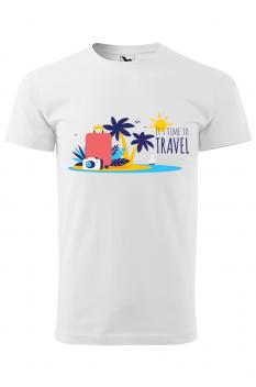 Tricou personalizat Time to Travel, pentru barbati, alb, 100% bumbac