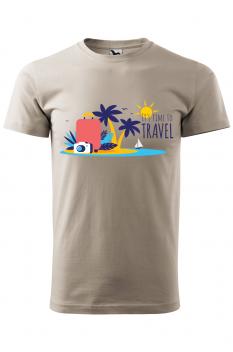 Tricou personalizat Time to Travel, pentru barbati, gri ice, 100% bumbac
