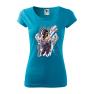 Tricou personalizat My Rules, pentru femei, turcoaz, 100% bumbac