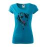 Tricou personalizat Red Lips, pentru femei, turcoaz, 100% bumbac