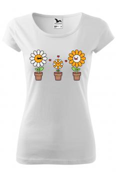 Tricou personalizat Happy Flowers, pentru femei, alb, 100% bumbac