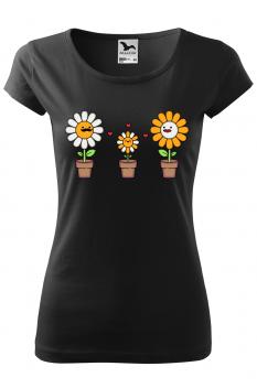 Tricou personalizat Happy Flowers, pentru femei, negru, 100% bumbac