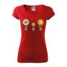 Tricou personalizat Happy Flowers, pentru femei, rosu, 100% bumbac