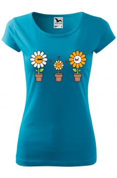Tricou personalizat Happy Flowers, pentru femei, turcoaz, 100% bumbac