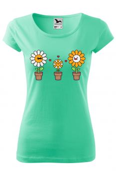 Tricou personalizat Happy Flowers, pentru femei, verde menta, 100% bumbac