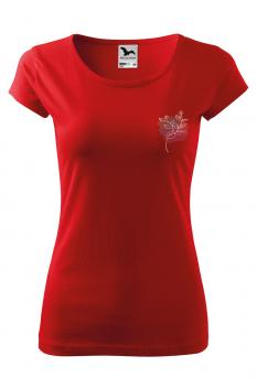 Tricou personalizat Pink Outline, pentru femei, rosu, 100% bumbac