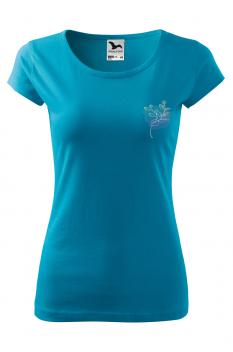 Tricou personalizat Pink Outline, pentru femei, turcoaz, 100% bumbac