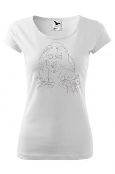 Tricou personalizat Portrait, pentru femei, alb, 100% bumbac