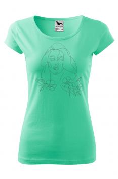 Tricou personalizat Portrait, pentru femei, verde menta, 100% bumbac