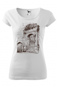 Tricou personalizat European Architecture, pentru femei, alb, 100% bumbac