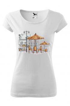 Tricou personalizat Little Cafe, pentru femei, alb , 100% bumbac
