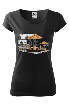 Tricou personalizat Little Cafe, pentru femei, negru , 100% bumbac