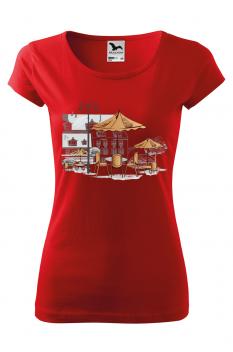 Tricou personalizat Little Cafe, pentru femei, rosu , 100% bumbac