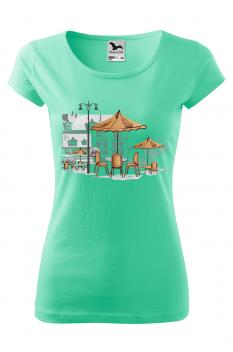 Tricou personalizat Little Cafe, pentru femei, verde menta , 100% bumbac