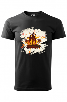 Tricou personalizat Tropical Summer, pentru barbati, negru, 100% bumbac