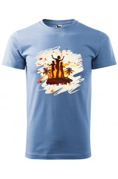 Tricou personalizat Tropical Summer, pentru barbati, albastru deschis, 100% bumbac