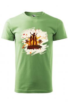 Tricou personalizat Tropical Summer, pentru barbati, verde iarba, 100% bumbac