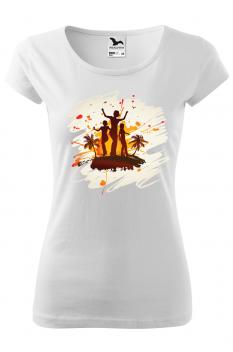 Tricou personalizat Tropical Summer, pentru femei, alb, 100% bumbac