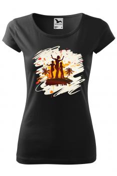 Tricou personalizat Tropical Summer, pentru femei, negru, 100% bumbac