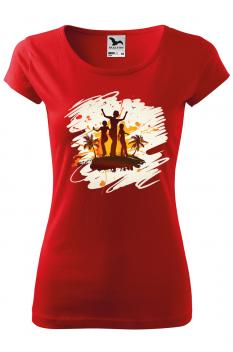 Tricou personalizat Tropical Summer, pentru femei, rosu, 100% bumbac